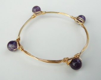 Genuine Amethyst Large Stackable Wire Bangle Bracelet: Spiritual awareness, Divine connection, Intuition