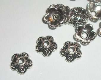 Bead caps antique silver plated pewter flower bead caps 10mm caps for jewelry making  25 pieces per lot (7943AS)