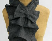 Ruffled Bow Scarf - Dark Grey