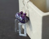 Purple Earrings, Rectangular Earrings, Lampwork Glass Earrings, Silver Droplets, Glass Bead Earrings, Boho Chic Earrings