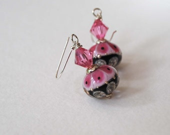 Floral Earrings, Lampwork Glass Earrings, Pink Earrings, Petal Earrings, Glass Bead Earrings