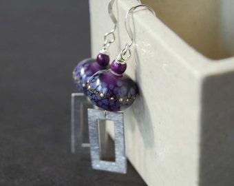 Purple Earrings, Rectangular Earrings, Lampwork Glass Earrings, Silver Droplets, Glass Bead Earrings, Boho Chic Earrings