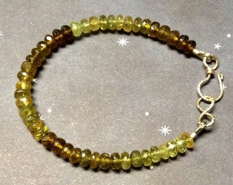 Grossular Garnet Gold Fill Stacking Bracelet, Ombre, Green and Brown Garnet, 7 1/4 inches