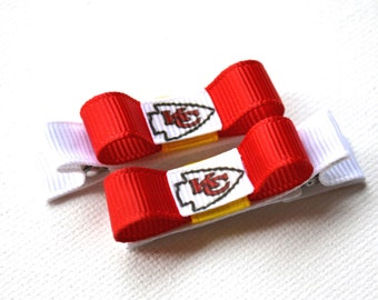 Kansas City Chiefs Hair Clips, Chiefs baby, Chiefs Stocking Stuffer, Chiefs bows, girls hair clips, toddler hair clips, womens hair clips