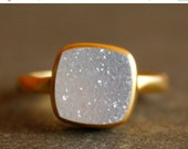 LABOR DAY SALE Gold White Druzy Ring - Cushion, Square Cut - Stacking Ring, Aaa quality Agate Druzy