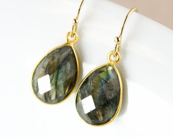 Blue Labradorite Teardrop Earrings – 14K Gold Fill