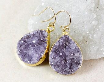 Purple Druzy Teardrop Earrings – Dangle – Choose Your Druzy