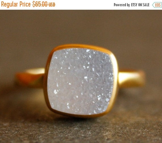Gold White Druzy Ring - Cushion, Square Cut - Stacking Ring, Aaa quality Agate Druzy