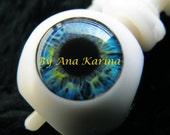 New Soft Resin OOAK REALISTIC custom Blythe eye chips set H6 , by Ana Karina.UV laminated.