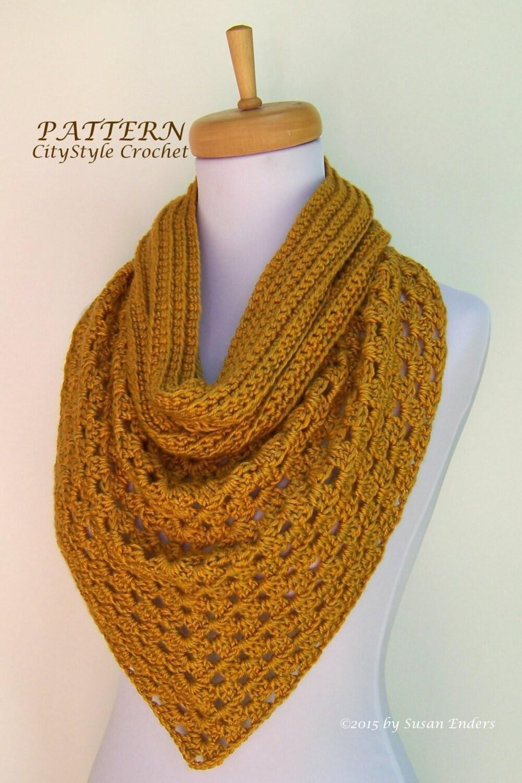 Free Knitting Patterns For Beginners Baby Blanket : Instant Download Crochet Pattern PDF Bandana Scarf Pattern