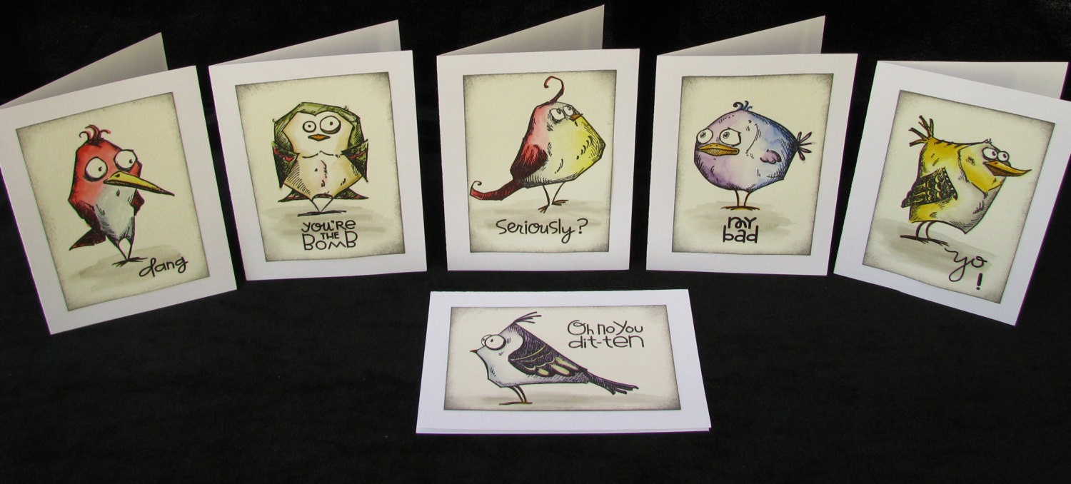 Bird Crazy Note Cards Tim Holtz Bird Crazy Cartoon Bird