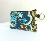 Brown & Blue Zippered Bag / Coin Purse / Id Case / Gadget Pouch with Split Ring - READY TO SHIP