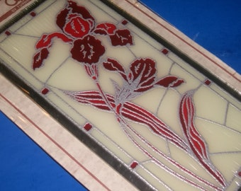 Stained Glass Red and Maroon Irises Wall Hanging with Mirror Edge