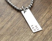 Mens Necklace Personalized Date and Initials Custom Necklace Hand Stamped Necklace For Him Boyfriend Gift Personalized Necklace Mens Jewelry