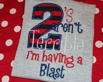 Terrible Twos birthday shirt- tshirt for boy or girl- 2nd birthday shirt