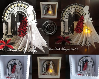 3D Bride Easel Card & Box Cutting File, All File formats offered