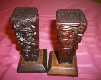 Pair Carved Wood small totem polls Bookends  home/Office decor on sale