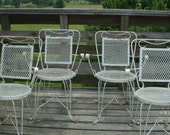 4 ~ Vintage French wrought iron garden outdoor chairs ~ just a little rustic shabby home