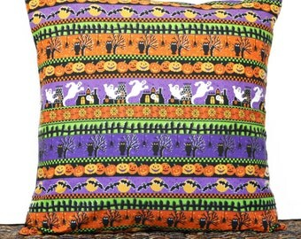 Halloween Pillow Cover Cushion Ghosts Bats Pumpkins Spiders Black Orange Purple Yellow Green Stripes Decorative 18x18