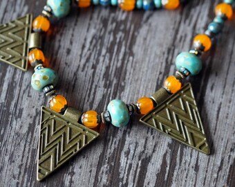 Aztec Triangle Necklace - Bohemian Triangle Necklace - Statement Necklace - Chunky Triangles Necklace - Bead Soup Jewelry