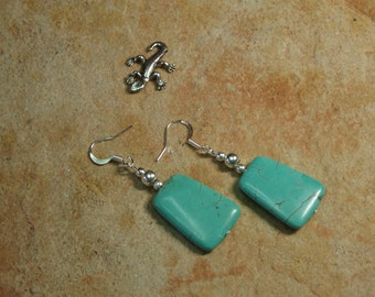 Natural Turquoise,925 silver Earrings