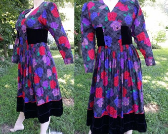80s Dress/ Floral Dress with Velvet Insets/ Vintage Dress by David Molho/ French Dress Size 8