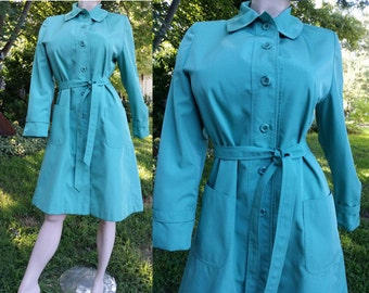 Womens Vintage Trench Coat, 60s Coat in Mint Green by Weatherbee from The Famous Size 10-12