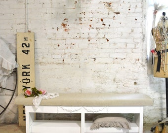 Painted Cottage Chic Shabby White Farmhouse Bench CHR117