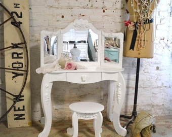 Painted Cottage Chic Shabby Romantic French Childs Vanity and Chair