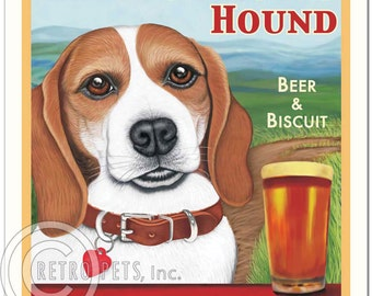 8x10 Beagle Art - Headstrong Hound - Beer & Biscuit - Art print by Krista Brooks
