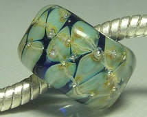 Silver Core Options - Handmade Lampwork European Charm Bead with Pure Silver Decoration - Fits all Charm Bracelets