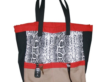 Reusable shopping tote, cotton shopping bag, canvas tote, Red and Black Shopping Tote
