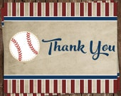 Baseball Thank You Cards, Birthday, Baby Shower, Little Slugger, Vintage, Pin Stripes, 24 Folding Notes, Free Shipping
