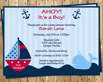 Nautical, Baby Shower Invitations, Ahoy It's a Boy, Whale, Red, Boat, Anchor, Stripes, 10 Printed Invites, FREE Shipping, AIBRW, Custom