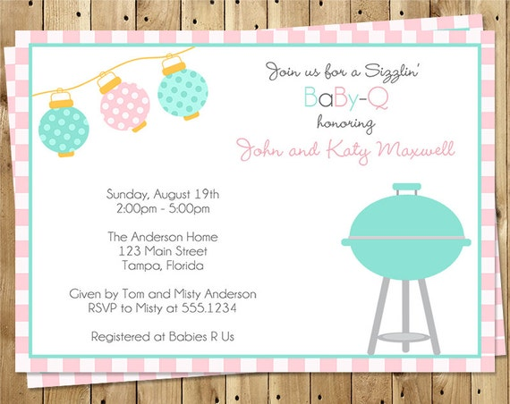 Baby Q Summer Shower Invitations Barbecue By Theinviteladyshop