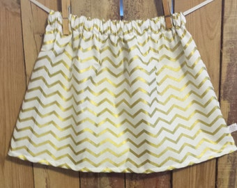Gold and White Chevron Skirt-  Baby Toddler Girls Skirt - Fall Winter Holiday Christmas - Custom Top Available to Match