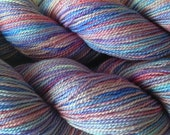 Fingering Weight Hand Painted Merino Wool Sock Yarn in Winter Wind Red White Aqua