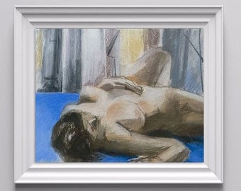 Original Pastel Drawing of Reclining Nude Female Figure on Canson Pastel Paper, Neutral Color Scheme with Pale Blues,  20''x30''