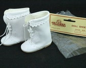 """Vintage Doll Booties White Leather Tallina's Doll Supplies Marked SM-4  IDEAL Vogue 3"""" x 1-3/8"""""""