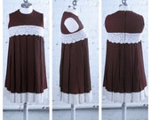Vintage 1960's Chocolate Brown Empire Waist Pleated Mini Dress with White Lace Details