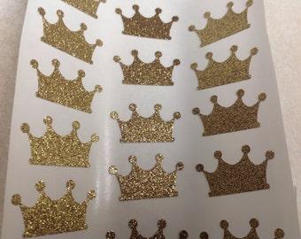 25 pc Beautiful Large Gold Glitter Regal Crown Stickers