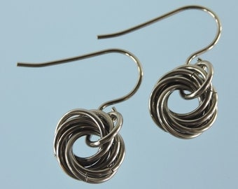 Niobium earrings: Mobius flower niobium chainmaille dangles in your choice of colour