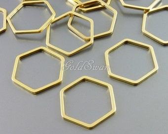 4 pcs matte gold 17mm geometric hexagon pendants, abstract honeycomb pendant, brass findings 937-MG-17