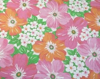 dreams in pink & orange, a vintage sheet fat quarter