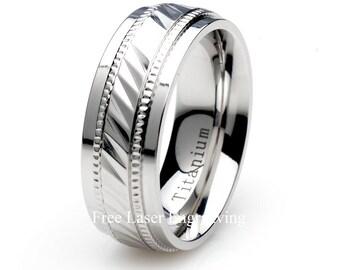 Mens Titanium Ring, Wedding Band, Mens & Women's Rings, Notched Milgrain, Polished Edge, 8mm Titanium Band, Custom Engraved Titanium Band