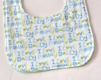 Baby Boy Bib, Shower Gift, I Love Mom Dad Reversible Feeding or Drooling Infant Bib, Pink Flannel Backing