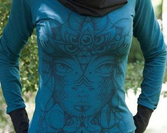 Females Hemp and Organic Cotton Cowl Neck Long Sleeve - Serpent Tone