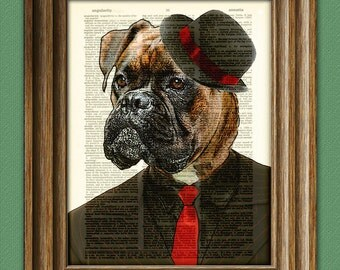 Cyrus the Zoot Suit Boxer dog Mobster with hat illustration beautifully upcycled dictionary page book art print