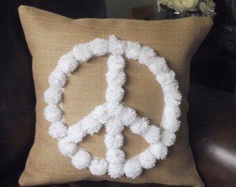 SALE - SHIPS IMMEDIATELY Burlap (hessian) pillow cover with white pompon peace sign hessian cushion cover