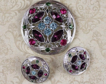 Vintage Sarah Coventry Spring Time Silver Rhinestone Brooch and Earrings Set
